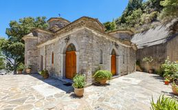 The monastery Kremaston, Crete, Greece. Church dedicated to Myrrhbearers at Monastery of Saints Michael and Gabriel - Kremaston Kremasti, Kremasta Crete, Greece royalty free stock images
