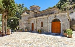 The monastery Kremaston, Crete, Greece. Church dedicated to Myrrhbearers at Monastery of Saints Michael and Gabriel - Kremaston Kremasti, Kremasta Crete, Greece stock photo