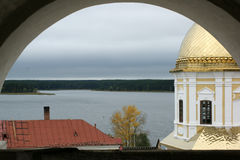 Monastery at Lake. Monastery Nilov desert at Lake Seliger, Valdai, Russia royalty free stock image