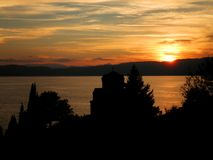 Monastery Lake Sunset. Beautiful sunset in monastery and Ohrid lake in Macedonia royalty free stock images