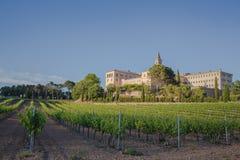Monastery Les Avellanes and vineyards Stock Photo