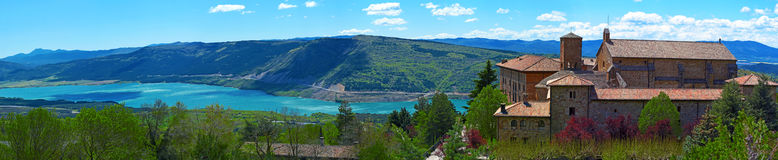 Monastery of Leyre and Yesa lake in Spain Stock Photo