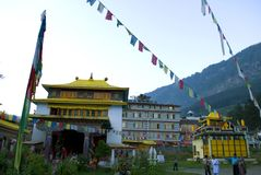 Monastery at Manali. Front view of a Buddhist Monastery at hill station Manali. Himalayan range of mountain is shown as backdrop makes the place a tourist Royalty Free Stock Images