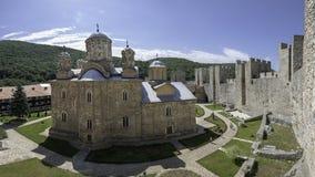 Monastery Manasija. Despotovac, Serbia - July 02, 2017: Inside of the Monastery Manasija, photo taken from main Despot`s tower, with a view on the Church of Holy Royalty Free Stock Photography