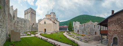 Monastery Manasija. Panorama of a Serb Orthodox monastery Manasija near Despotovac, Serbia, founded by Despot Stefan Lazarević between 1406 and 1418. Now part Stock Images