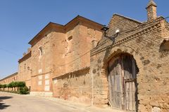 Monastery of Manasterio de la Vega, Tierra de Campos, Valladolid province, Castilla and Leon, Spain stock photography