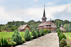 Monastery in Maramures source of peace and tranquility. Wooden monastery built in the last century in Maramures style royalty free stock images