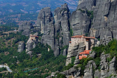 Monastery at Meteora, Greece. Founded in the 16th century, the easily-accessible Rousannou Monastery occupies a lower rock than the others of the Meteora. In the Stock Photo