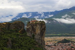 Monastery at Meteora Greece. Holy Trinity Monastery on top of the rock at Meteora Greece Royalty Free Stock Images