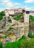 Monastery from Meteora-Greece. Landscape with tall rocks with buildings on them, monastery from Meteora-Greece Royalty Free Stock Photography