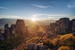 Monastery in Meteora, Northern Greece in Spring 2018 royalty free stock photography