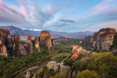 Monastery in Meteora, Northern Greece in Spring 2018 stock images