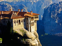 Monastery. Meteora Monastery standing on the Cliff of high Mountain in Greece Stock Images