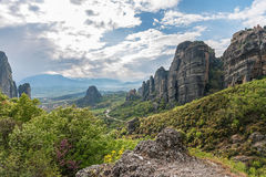 Monastery and Meteora valley, Greece Stock Photos