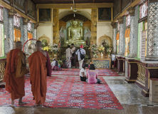 Monastery and monks in Maynmar stock images