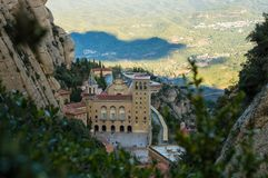 Monastery of montserrat. Montserrat, Catalonia / Spain, 2 November 2018: An high view of monastery of montserrat in late afternoon stock image