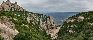 Monastery of Montserrat panorama in Catalonia Royalty Free Stock Images