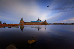 Monastery in the morning. View on Solovetsky Monastery with Holy Lake on sunrise royalty free stock photography
