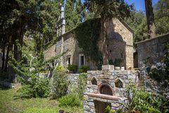 Monastery of Mother Mary Vidiani in the mountains of Crete Royalty Free Stock Photos