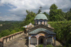 Monastery in the mountain. With clowds Royalty Free Stock Photography