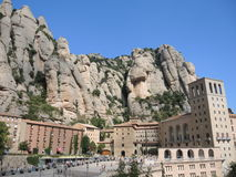 The monastery on the mountain of Montserrat Stock Images