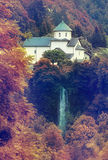 Monastery in the mountains autumn Stock Image