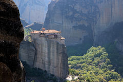 Monastery in the mountains. View of the mountain valley Stock Images
