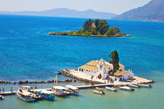 Monastery and Mouse island on Corfu, Greece Royalty Free Stock Images