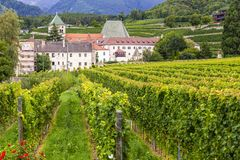 Monastery Neustift with vineyards, Brixen, Italy royalty free stock photography