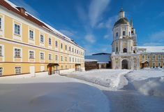 Monastery of the Nilo-Stolobenskaya Pustyn. In winter, Ostashkov district, Tver oblast, Russia. It is situated on Stolobny island of Seliger lake Royalty Free Stock Photo