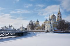 Monastery of the Nilo-Stolobenskaya Pustyn. Winter view of russian orthodox monastery of the Nilo-Stolobenskaya Pustyn, Ostashkov district, Tver oblast, Russia Stock Photography