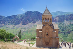 Monastery Noravank built of natural stone tuff, the city of Yeghegnadzor, Armenia. Landscape view of the mountains stock photo