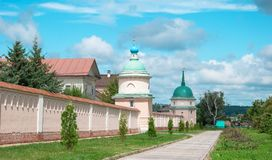 Monastery of the Optina Elders. Walls and towers of Monastery of the Optina elders in Kozelsk Royalty Free Stock Photography