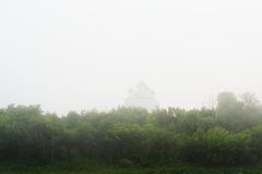 Monastery in Orel, Russia in thick morning haze Stock Images