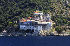 Monastery Osiou Grigoriou, St. Gregory at Mount Athos. Monastery Osiou Grigoriou on peninsula Mount Athos in Greece Royalty Free Stock Images