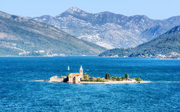 Monastery Our Lady of Mercy on the island in Montenegro Stock Photos