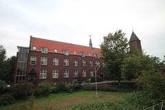 Monastery of the Passionists and the Gabriel church in Haastrecht, The Netherlands.  stock photo