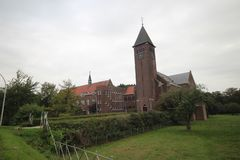 Monastery of the Passionists and the Gabriel church in Haastrecht, The Netherlands.  stock image