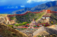Monastery Pelkor Chode and Kumbum stupa in Gyantze Royalty Free Stock Image