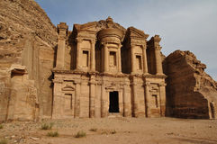 The monastery at Petra. Jordan. A tomb carved from sandstone mountain cliffs and later used as a Christian monastery Stock Photography