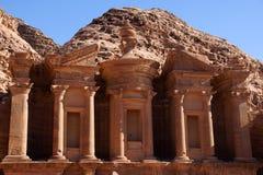 Monastery in Petra. Old nabatean Monastery in Petra, Jordan Stock Photo