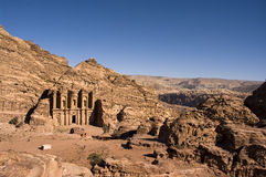 The Monastery, Petra, Jordan. The old city of Petra is an UNESCO World Heritage site. Pano image of the Monastery Royalty Free Stock Photo