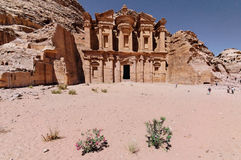 The Monastery, Petra, Jordan. The Monastery is the largest tomb façade in Petra. It was built as a tomb monument. The structure consists of two stories topped Stock Images