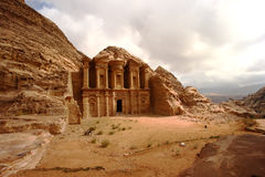 Monastery at Petra in Jordan stock photography