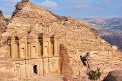 Monastery in Petra, Jordan Stock Images