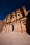 Monastery in Petra, wonder. The monastery in one of the wonders of the world - Petra, Jordan royalty free stock photo