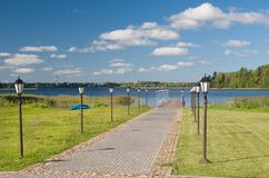 Monastery pier on Lake Valday in summer Stock Photography