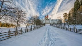 Monastery of Pietralba near Monte San Pietro, Nova Ponente, South Tyrol, Italy. The most important sanctuary of South Tyrol. Winte. R view with snow royalty free stock images