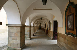 Monastery in Poland. Cloisters in Kalwaria Zebrzydowska in Poland - famous UNESCO World Heritage Site. Mannerist architecture, pilgrimage destination Royalty Free Stock Photo
