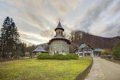 Monastery Prislop in Hunedoara, Romania pilgrimage. Peaceful and beautiful travel destination in Romanian Carpathians mountains Royalty Free Stock Photo